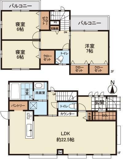 間取り図 全居室6帖以上!LDKは約22.5帖の開放的な空間です!オールフローリング仕様の3LDK新築戸建!