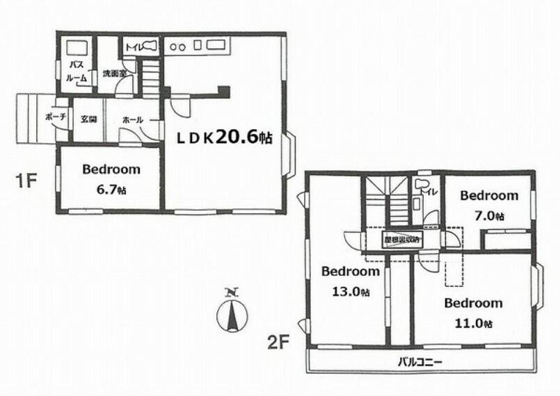 間取り図 LDK20帖をはじめ一部屋が広いゆったりとした間取りプラン~南向きワイドバルコニー付です。収納に便利な小屋裏収納付。