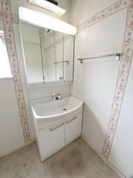 洗面化粧台 シャワー付き 小物が入れられる収納も付いています
