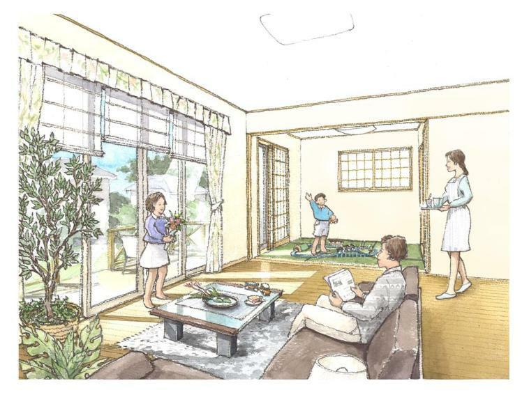 居間・リビング どんな家に住みたいですか?どんな間取りにしたいですか?まずはお客様のご要望を私達にじっくりとお聞かせください。30坪超えのゆとりの敷地に自由な間取りで夢のマイホームを実現しましょう!
