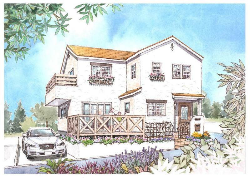 完成予想図(外観) セミオーダー住宅って?完成した状態で販売する「建売」でもなく、ゼロからつくる「注文住宅」でもない、自由にできる「幅」を残しながらお客様の要望に沿った家づくりができる合理的な家づくりシステムです。
