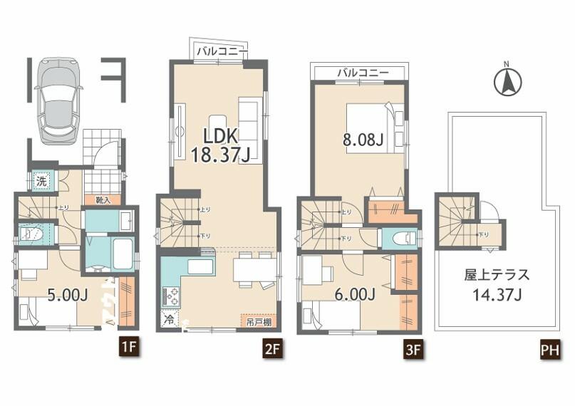 間取り図 3LDK+車庫+屋上テラス 西側、東側が隣地通路に付き、開放感 。主寝室は広々8帖の広さがございます。