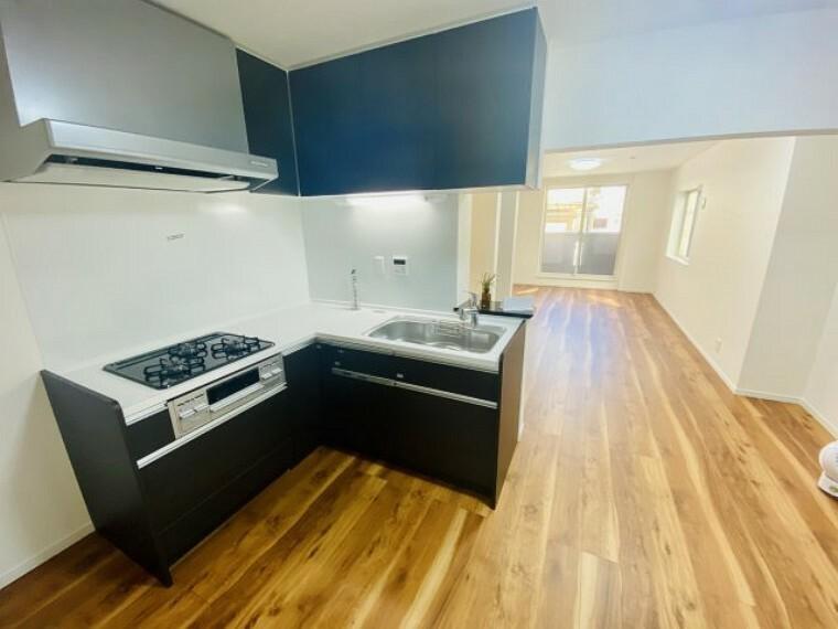 キッチン 食洗い乾燥機・蛇口一体型浄水器付き、タカラスタンダードのシステムキッチン。 ホーローパネルなのでお手入れ楽々。