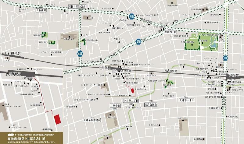 【現地案内図】 西武新宿線「上井草」駅から徒歩3分の好立地に誕生する新たな街並み。駅から現地の間に、生活利便施設が集まっています。