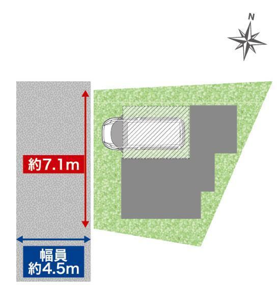 区画図 前面道路名「中山北原町西線支線第5号」 幅員約4.54m、接道長さ約7.13m