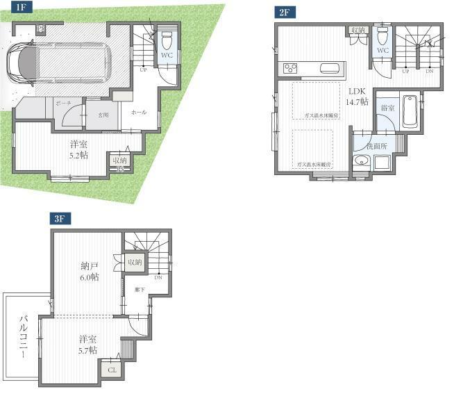 間取り図 3LDK+床暖房+ビルトインガレージ