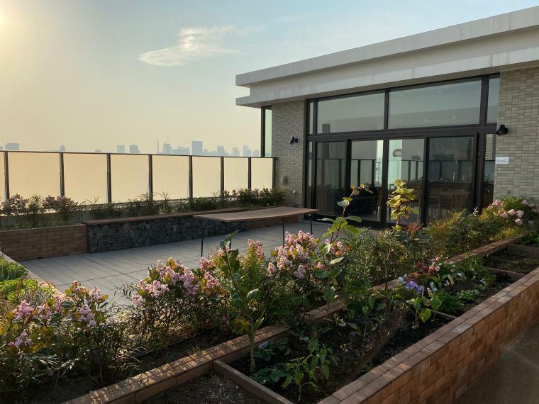 屋上テラス・パーティーダイニング 都心のサンセットを望みながらゲストや家族で楽しむパーティー空間。最上階にはゲストルームの他、家庭菜園コーナーもあり、都心の喧騒を忘れさせてくれる空間となっています。