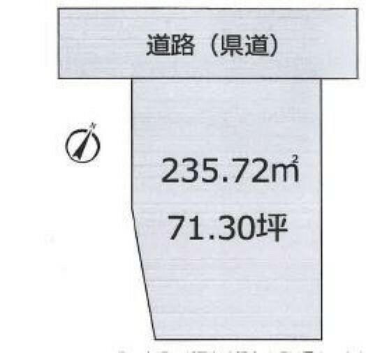 区画図 約71坪のゆとりあり売地です。バス停より徒歩約1分の立地。