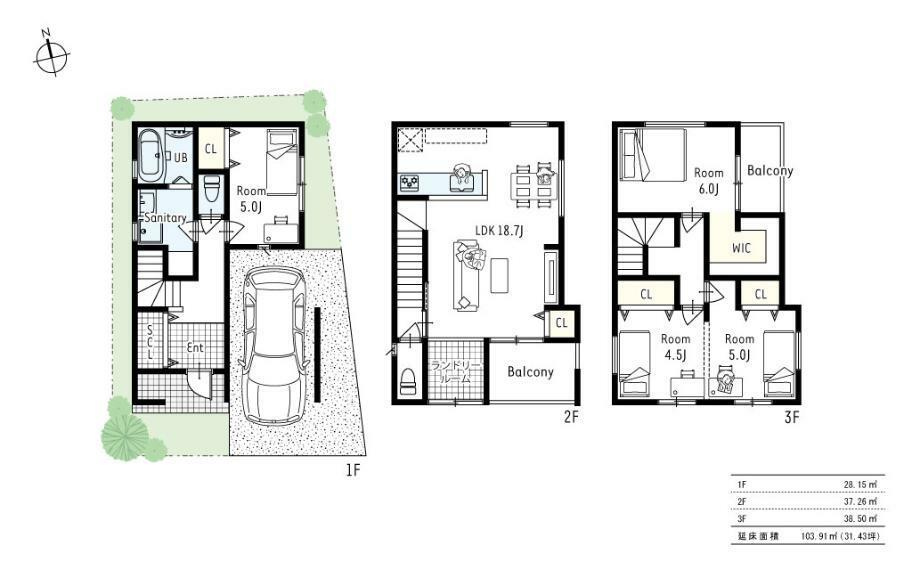 参考プラン間取り図 間取図■2階部分に設けるバルコニーをあえてなくしランドリールームを設けました。外部からの音を遮音しながら、断熱性もアップ。快適で落ち着いたお家になりました。