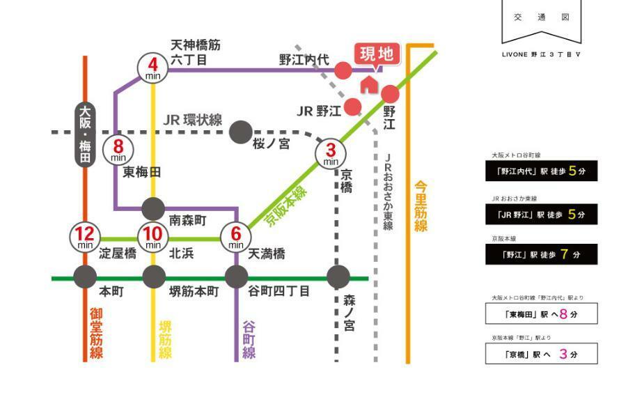 交通図■地下鉄谷町線「野江内代」駅より徒歩5分