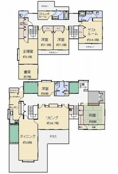 間取り図 1階には客間として又は2世帯同居の親夫婦の居間として使える本格的和室。