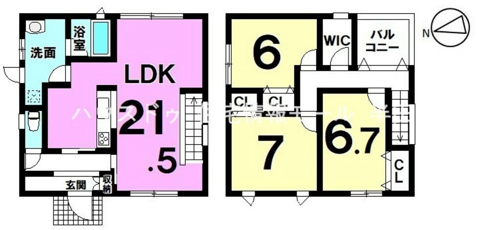 間取り図 住環境の整った閑静な住宅街に佇む3LDK新築戸建です