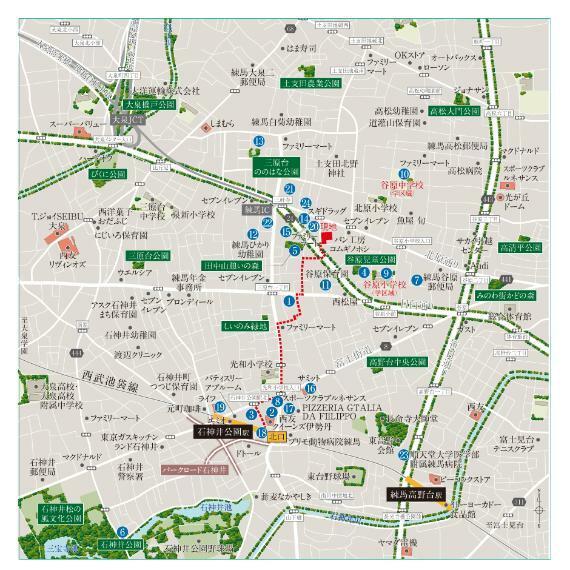 【現地案内図】 多彩な施設が並ぶ賑やかな駅前を進むと、自然あふれる公園や緑地が点在する落ち着いた住環境が広がります。