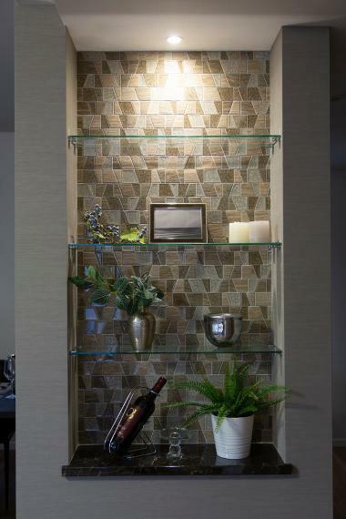 収納 ガラス棚付のフィオレストーンニッチカウンター