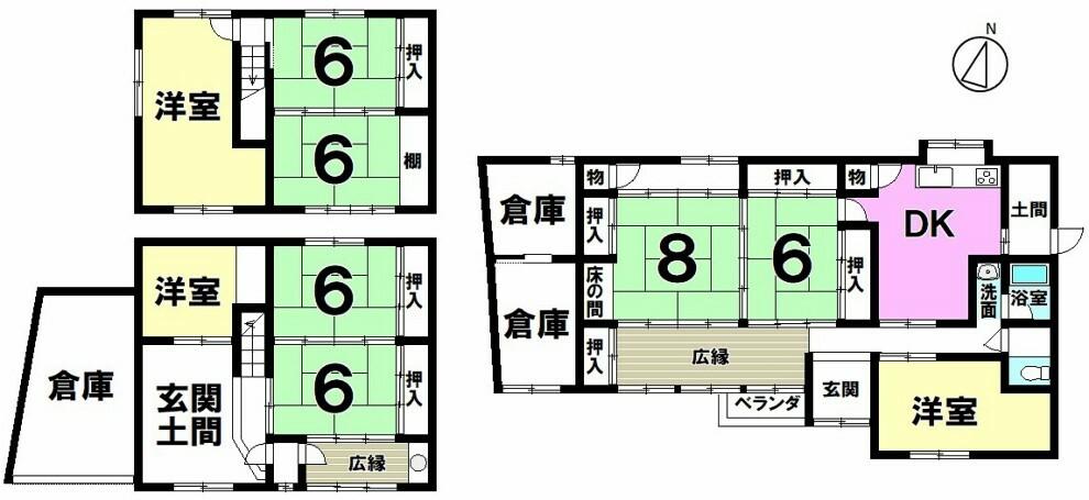 間取り図 【二世帯住宅をお考えの方におすすめ】倉庫が3つ付いて収納力の高い9DK中古戸建