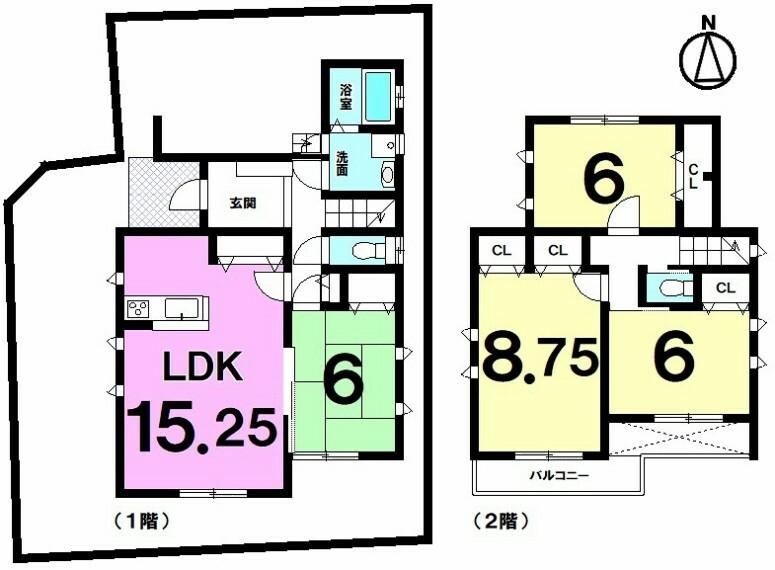 間取り図 2021年1月築!新築分譲住宅!普通車2台駐車可能、木造2階建て!お気軽にお問い合わせください