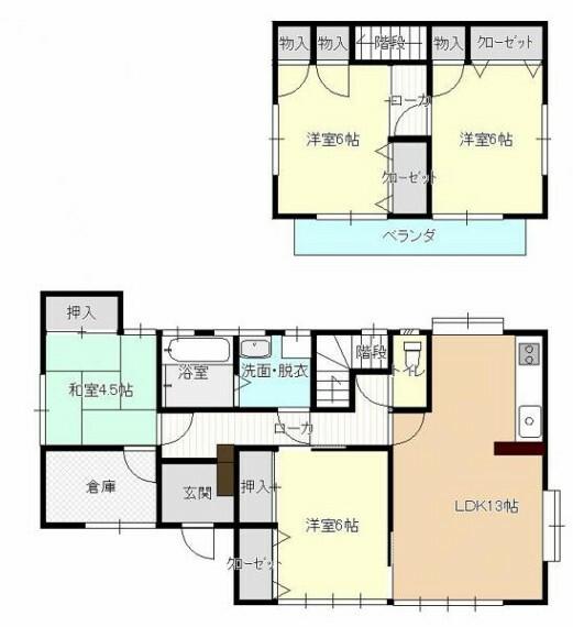 間取り図 間取りは4人~5人家族におすすめの4LDKです。倉庫は、趣味のためのスペースとしても活用できます。