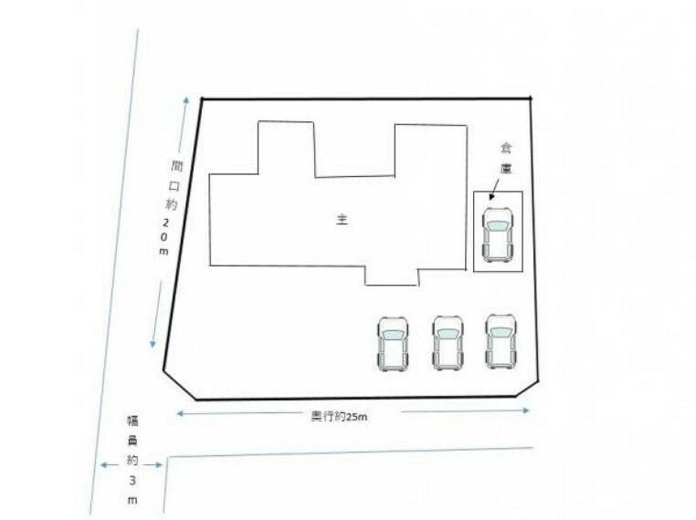 区画図 【区画図】庭木剪定を行い、駐車4台以上可能です。倉庫は駐車スペースとしても物置としても使えるのが嬉しいですね。
