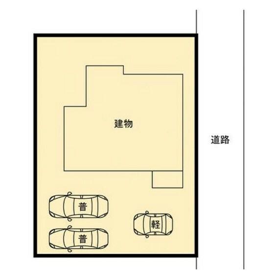 区画図 【配置図】駐車場の様子です。間口を広げたので車を停めやすくなりました。車種によっては停めやすさや駐車台数は変わりますので、ぜひ現地で確認してみてください。