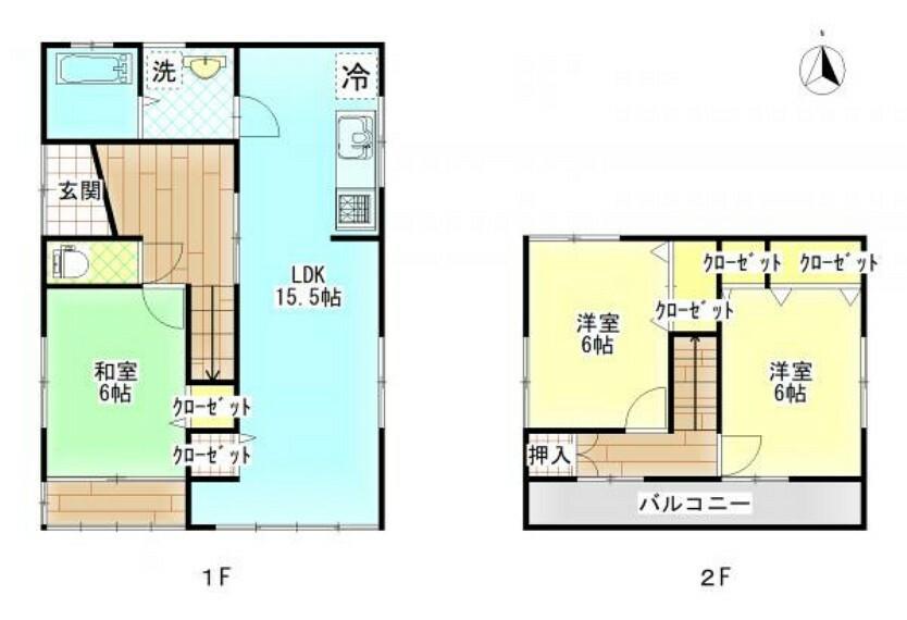 間取り図 【リフォーム後間取り図】1階に15.5帖のLDKを作成し、お風呂・洗面所を1坪に間取り変更します。2階は現状和室2部屋を洋室2部屋に間取り変更します。