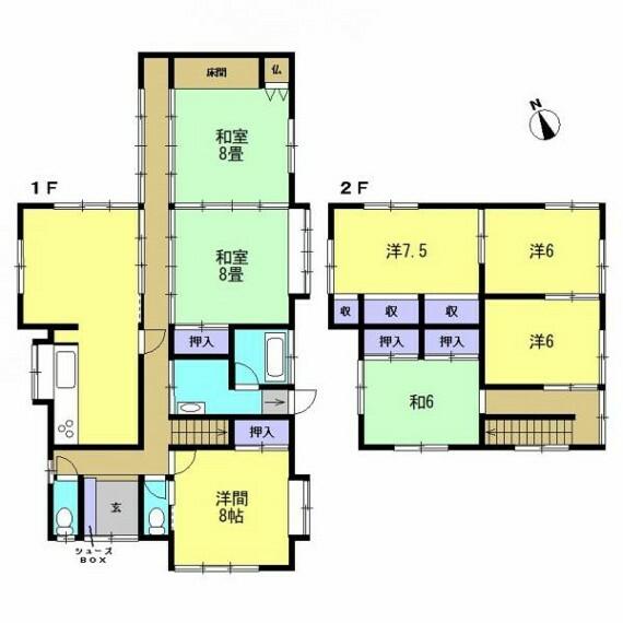 間取り図 【リフォーム済】リフォーム後の間取り図です。7LDKに間取りを変更しました。各居室6畳以上と広さもしっかり確保できております。全居室に収納がついているのは嬉しいですよね。