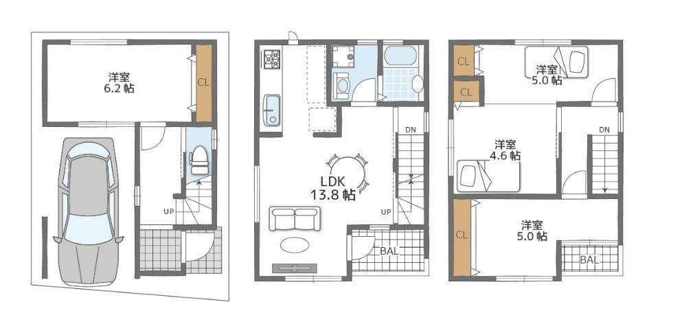 参考プラン間取り図 B号地プラン間取りです。変更可能が可能な自由設計。プランはお子様も一人部屋が持てる4LDK。全室収納、ビルドインガレージあり。