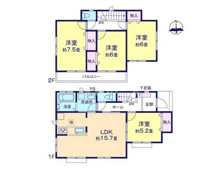 間取り図 全居室南向き。フローリングなのでお掃除らくらく。全居室収納有り。