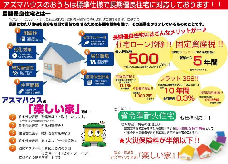 構造・工法・仕様 【長期優良住宅】長期間快適に暮らせるお家で、メリットいろいろ。安心とおトクを兼ね備えたお家なんです。