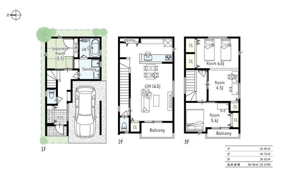 間取り図 B号地プラン■廊下を減らし各居室も大きく確保し、家族の成長に合わせ4LDKにも変更できるお家です。
