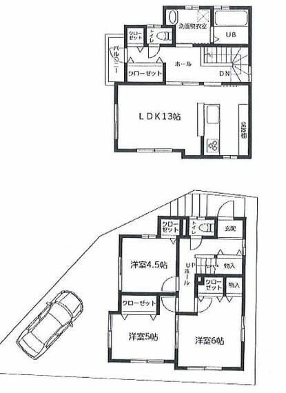 間取り図 船橋市駿河台 新築戸建て 東船橋駅 2階リビング+洋室3部屋の3LDK