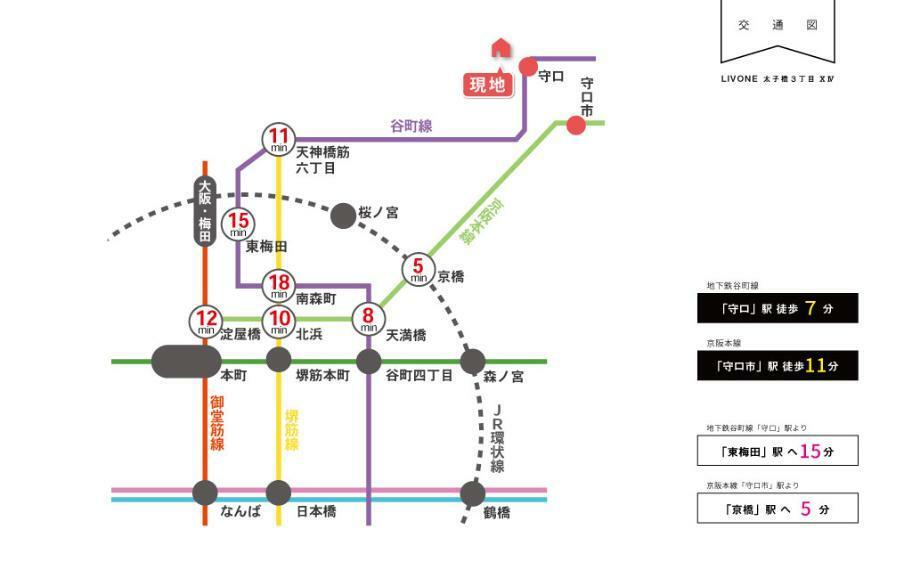 交通図■東梅田駅まで15分。京橋駅まで5分。お仕事に、お出かけに便利な立地です。