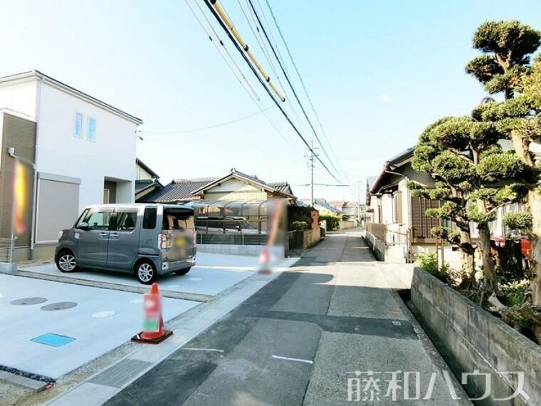 現況写真 接道状況および現場風景 【北名古屋市熊之庄十二社】