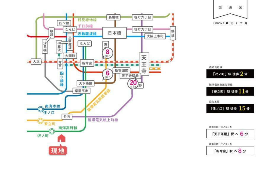 交通図。南海高野線「沢ノ町」駅まで徒歩2分の駅近生活!!大阪南エリアの中心地のなんばまでは電車で約13分。お家からなんばまで約15分で行くことができる便利な立地です。