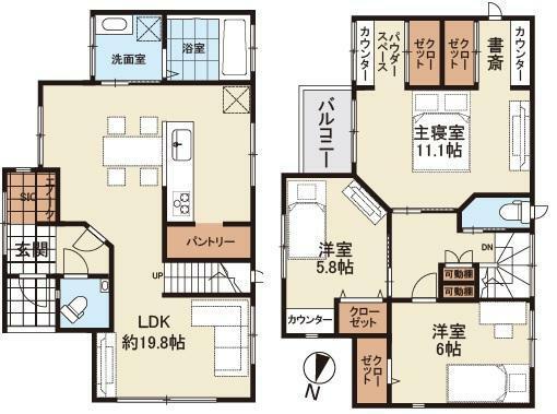 間取り図 LDKは約19.8帖の開放的な空間。ご家族間のコミュニケーションが育みやすいお家をご提供致します。