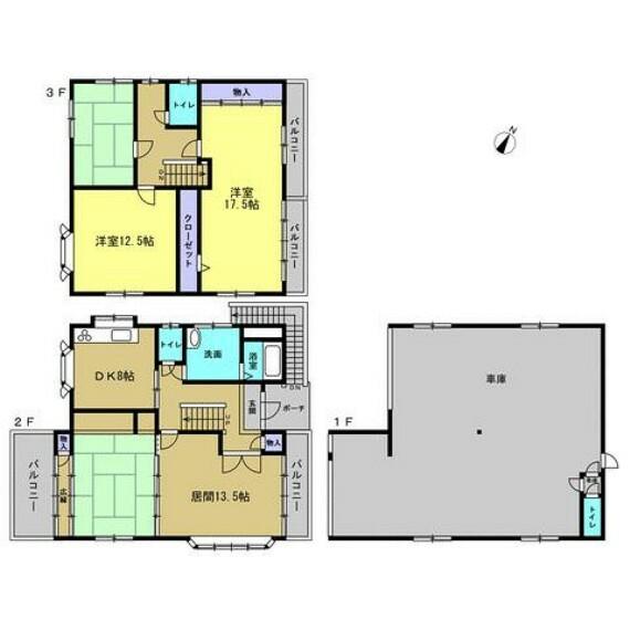 間取り図 【リフォーム済】間取りは5DKの3階建て。1階はガレージ、2、3階が居住スペースとなっております。南向きの大きな窓があるので日当たり良好です。