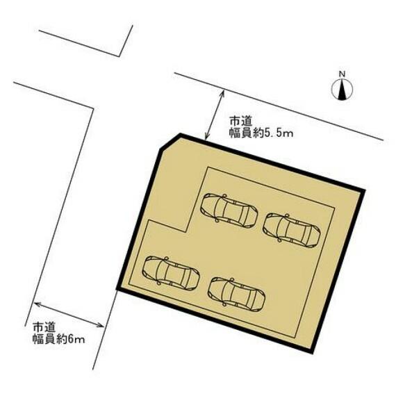 区画図 【リフォーム済】北西角地に建つお家です。1階がビルトインガレージになっているので4台駐車可能です。道路は公道で北側幅員5.5m、西側幅員約6mあるので大きな車でも通行できます。