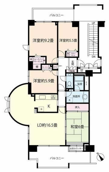 間取り図 1780万円、4LDK+ウォークインクローゼット、専有面積104.10平米、バルコニー面積21.30平米、8階建5階部分