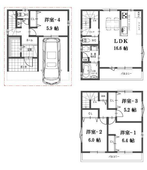 間取り図 F号地の間取図です。販売価格3680万円、4LDK、土地面積56.83平米、建物面積103.74平米