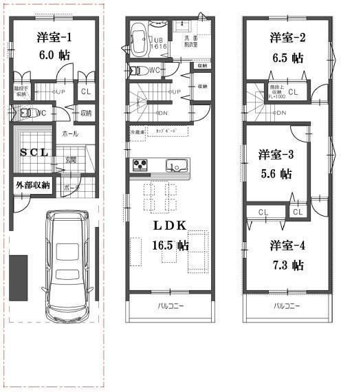 間取り図 D号地の間取図になります。販売価格3380万円、建物面積111.06平米