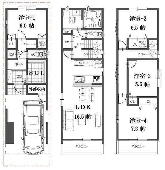 間取り図 H号地の間取図になります。販売価格3580万円、建物面積111.06平米