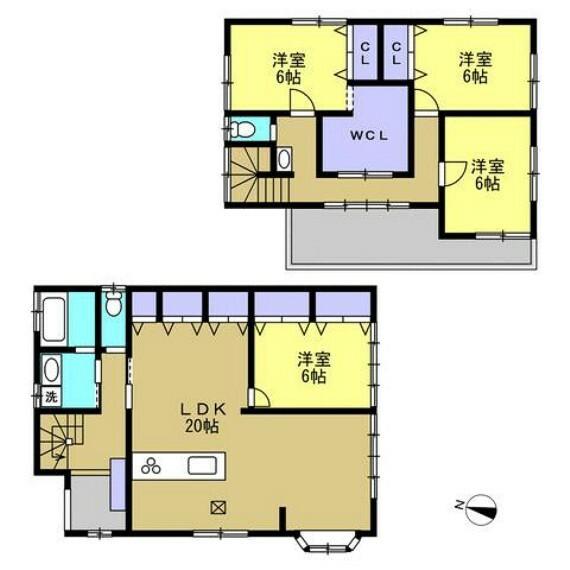 間取り図 【リフォーム中】現在の間取図はリフォーム前の間取図です。1Fの居室をLDKに間取り変更を行います。26帖の広々としたLDKに生まれ変わるので贅沢にお部屋をお使い頂けます。