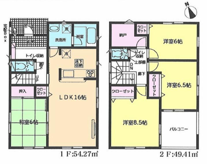 間取り図 リビング横の6帖の和室は、小さなお子様の遊び部屋としてオススメです。