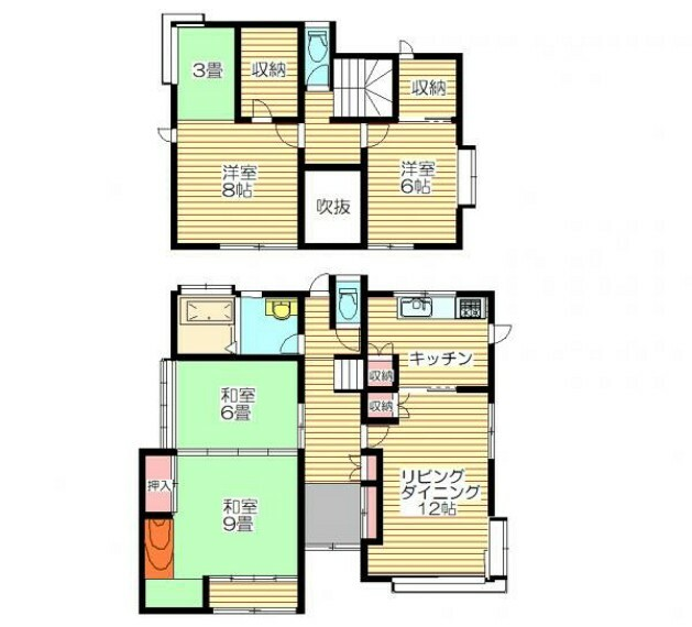 間取り図 【リフォーム済】間取りは4LDKです。3~4人のご家族にお勧めです。収納もたくさんあるので物をしまってお部屋を広く使えます。
