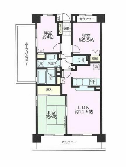 間取り図 南西・北西角部屋~開放感溢れるお部屋です~令和元年12月内装リフォーム済!