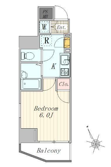 間取り図 1K 21.17平米