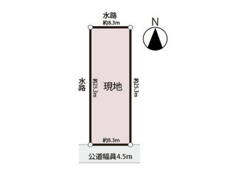 区画図 建築条件なし、南側向きのゆったり約64坪の敷地です。