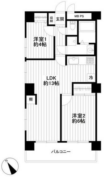 間取り図 各居室に便利な収納がついています。