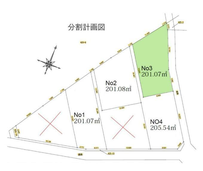 区画図 敷地面積201.07平米。建築条件ありません。自由設計プランお作りします。