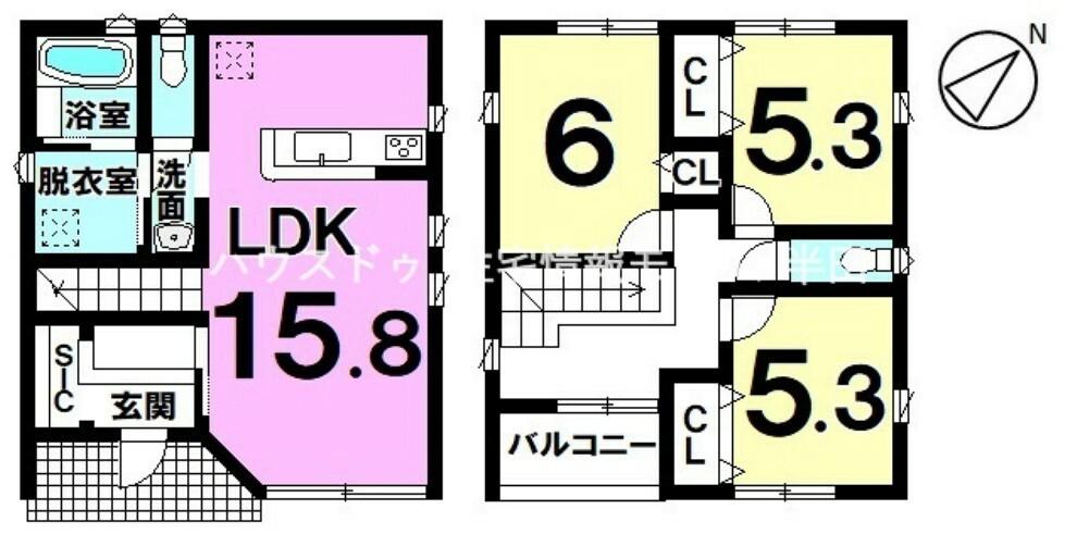 間取り図 シンプルで使い勝手の良い間取り 全居室収納付きで居住スペースもスッキリ使える3LDK新築戸建