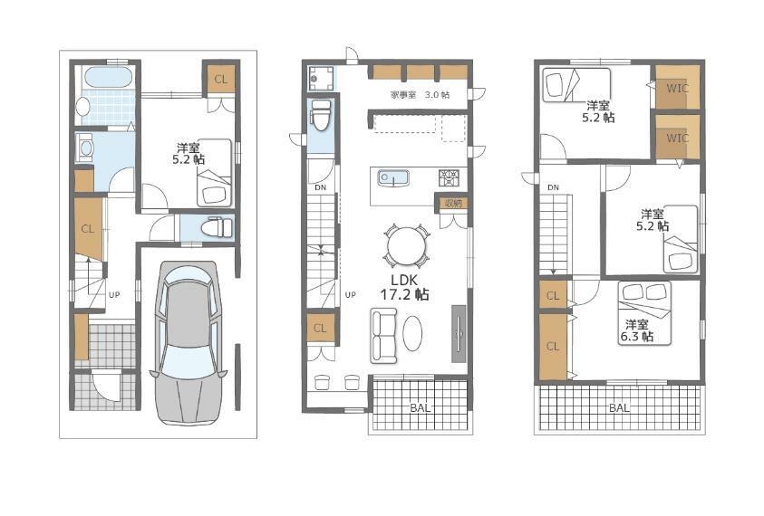 間取り図 4LDK、ビルドインガレージ付き。全室収納、ウォークインクローゼットもございます。キッチン近くに洗濯機置き場・家事室を設け、家事のしやすいプランです。